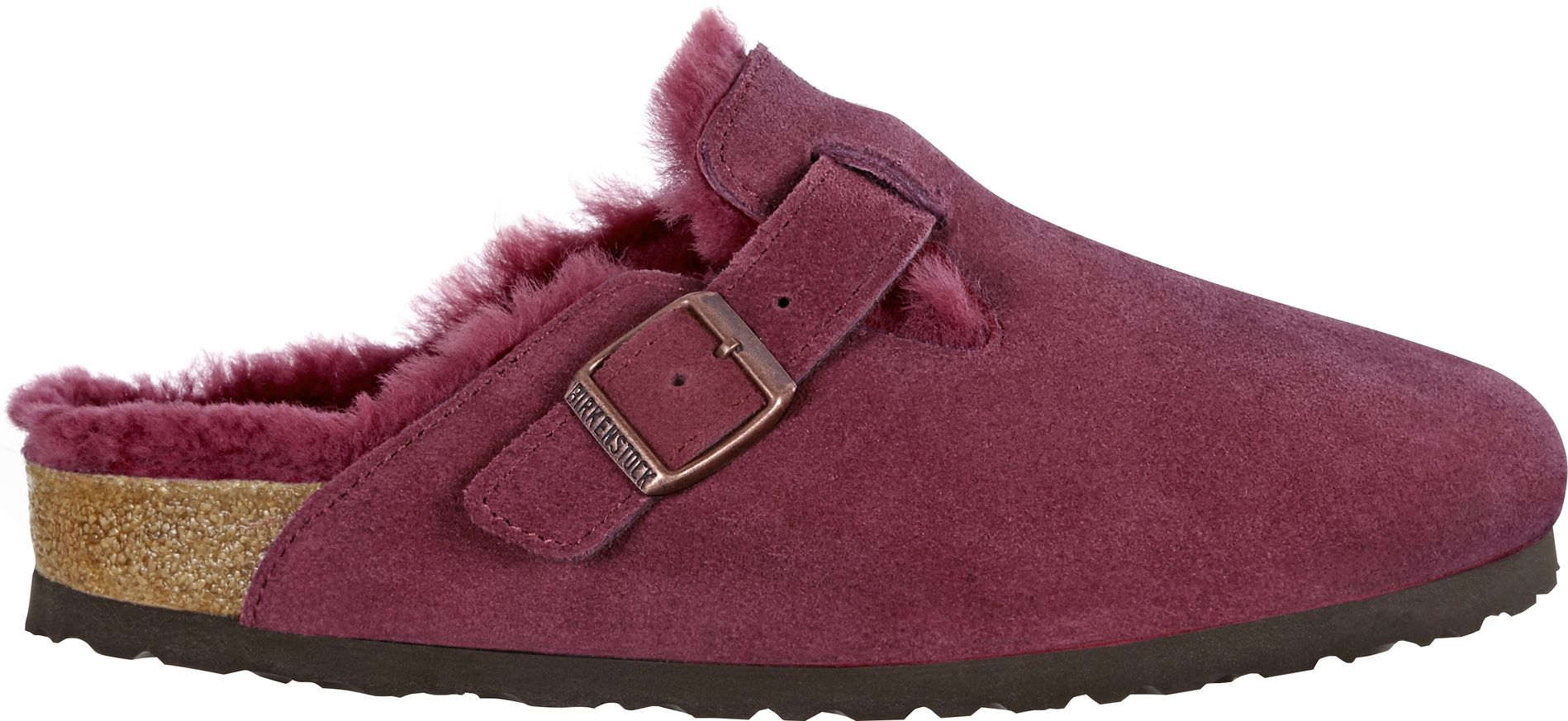 brand new 8f48a 7bdd8 Birkenstock Boston Fell Burgundy Veloursleder
