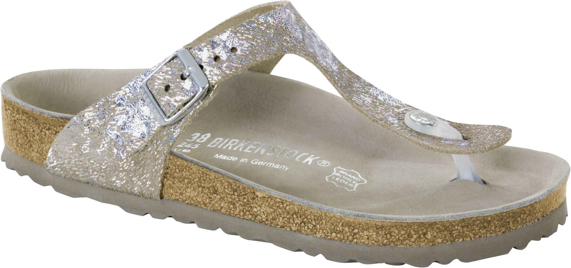 quality design cb828 d6042 Birkenstock Exquisit Gizeh Spotted Metallic Silver